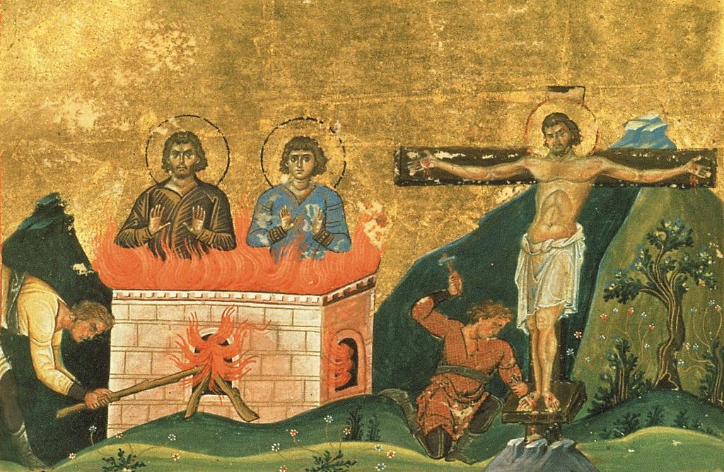 Santo Porphyrius, Santo Julianus, dan Santo Theodulus - Menologion of Basil II, Perpustakaan Vatikan Roma
