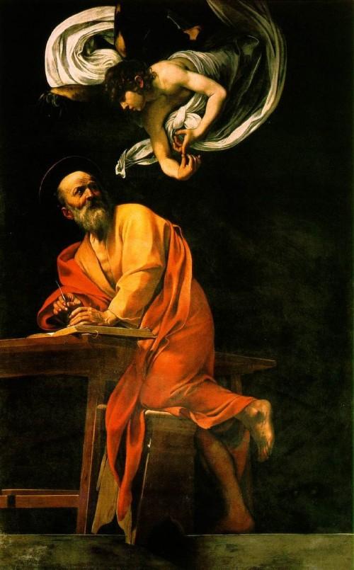 "Michelangelo Merisi da Caravaggio [Public domain], <a href=""https://commons.wikimedia.org/wiki/File:The_Inspiration_of_Saint_Matthew_by_Caravaggio.jpg"" target=""_blank"">via Wikimedia Commons</a>"