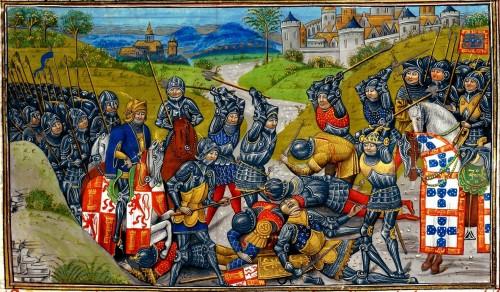 "Jean d&#039;Wavrin (Chronique d&#039;Angleterre) [Public domain], <a href=""https://commons.wikimedia.org/wiki/File:Batalha_de_Aljubarrota_02.jpg"" target=""_blank"">via Wikimedia Commons</a>"