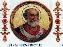 """See page for author [Public domain], <a href=""""https://commons.wikimedia.org/wiki/File:BenedictII.jpg"""" target=""""_blank"""">via Wikimedia Commons</a>"""