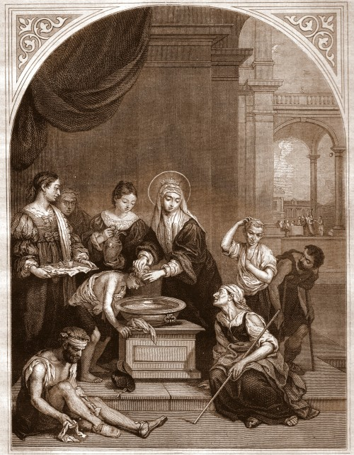 """Bitschnau Otto  (this is a print from the original painting by Murillo in the Ospedale de la Caridad, Sevilla, Spain) [Public domain], <a href=""""https://commons.wikimedia.org/wiki/File:Bitschnau-863_Elisabeth-pic-sepia.jpg""""  target=""""_blank"""">via Wikimedia Commons</a>"""