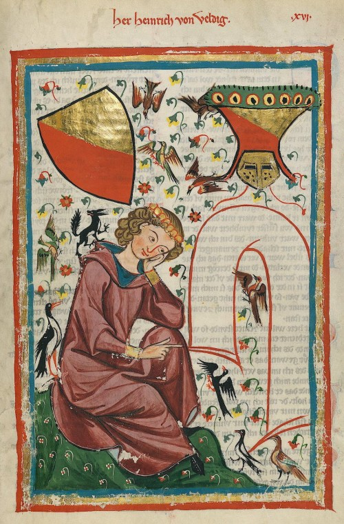 "Master of the Codex Manesse (Foundation Painter) [Public domain], <a href=""https://commons.wikimedia.org/wiki/File:Codex_Manesse_Heinrich_von_Veldeke.jpg""  target=""_blank"">via Wikimedia Commons</a>"
