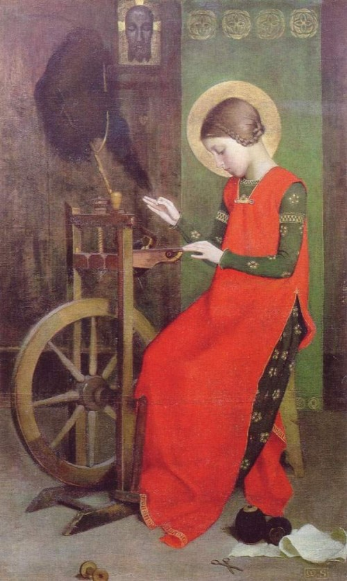 """Marianne Stokes [Public domain], <a href=""""https://commons.wikimedia.org/wiki/File:Marianne_Stokes_St_Elizabeth_of_Hungary_Spinning_for_the_Poor.jpg""""  target=""""_blank"""">via Wikimedia Commons</a>"""