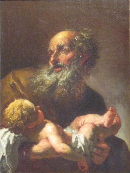 """Janmad [<a href=""""https://creativecommons.org/licenses/by/3.0""""  target=""""_blank"""">CC BY 3.0</a>], <a href=""""https://commons.wikimedia.org/wiki/File:Simeon_with_the_Infant_Jesus_Brandl_after_1725_National_Gallery_Prague.jpg""""  target=""""_blank"""">via Wikimedia Commons</a>"""