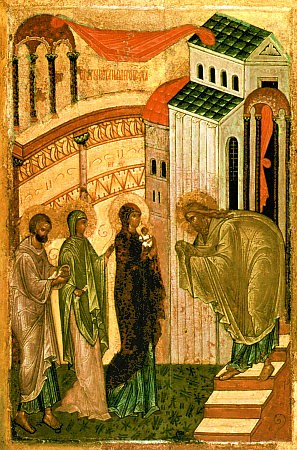 """AnonymousUnknown author [Public domain], <a href=""""https://commons.wikimedia.org/wiki/File:Sretenie.jpg""""  target=""""_blank"""">via Wikimedia Commons</a> <br> <b>Description : </b> <p>Late fifteenth-century Russian Icon depicting the Events of Jesus' presentation in the Temple of Jerusalem and the prophecy of Simeon, for Candlemas</p>"""