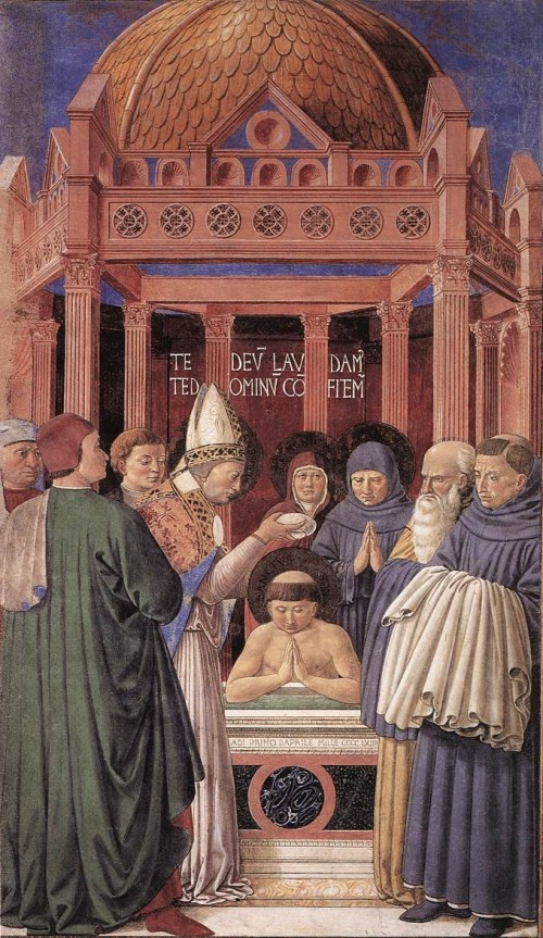 "Benozzo Gozzoli [Public domain], <a href=""https://commons.wikimedia.org/wiki/File:AugustineBaptism.jpg""  target=""_blank"">via Wikimedia Commons</a>"