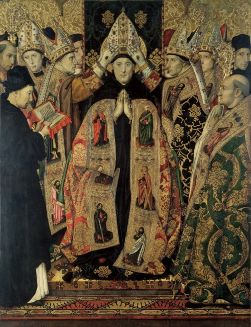 "Jaume Huguet [Public domain], <a href=""https://commons.wikimedia.org/wiki/File:Jaume_Huguet_-_Consecration_of_Saint_Augustine_-_Google_Art_Project.jpg""  target=""_blank"">via Wikimedia Commons</a>"