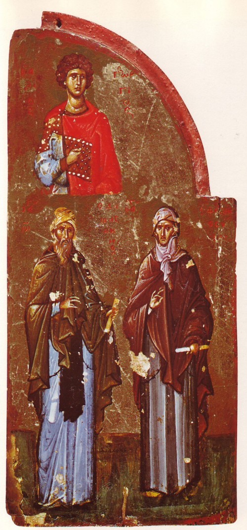 """See page for author [Public domain], <a href=""""https://commons.wikimedia.org/wiki/File:George_John_Ephraim_Triptychon_fragment_Sinai_14th_century.jpg""""  target=""""_blank"""">via Wikimedia Commons</a> <br> <b>Details : </b> <p>Three saints: George, John of Damascus, Ephrem the Syrian. Part of a triptych, possibly from Constantinople. Early 14th century.</p>"""