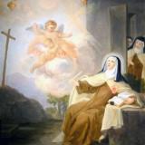 Saint-Denis_93_musee_dart_et_dhistoire_tableau_-_Ste_Therese_en_extase_en_ecrivant_ses_ouvres_et_surprise_par_ses_sours_ecole_fr._XVIIIe_s.