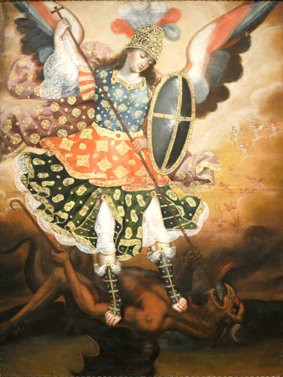 18th_century_oil_on_canvas_titled_Saint_Michael_the_Archangel_from_Cuzco_Peru.jpg