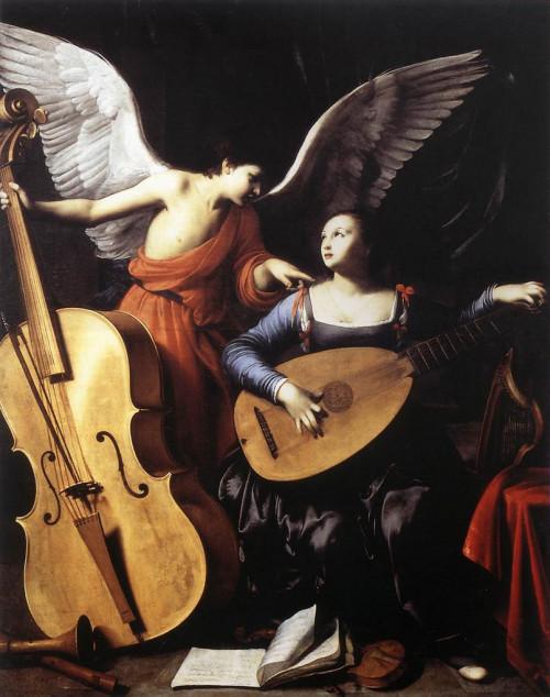 "Carlo Saraceni [Public domain], <a href=""https://commons.wikimedia.org/wiki/File:Carlo_Saraceni_-_Saint_Cecilia_and_the_Angel_-_WGA20829.jpg""  target=""_blank"">via Wikimedia Commons</a>"