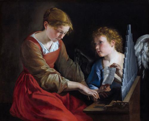 """Orazio Gentileschi [Public domain], <a href=""""https://commons.wikimedia.org/wiki/File:Orazio_Gentileschi_%26_Giovanni_Lanfranco_-_Santa_Cecilia_con_un_angelo_(National_Gallery_of_Art).jpg""""  target=""""_blank"""">via Wikimedia Commons</a>"""