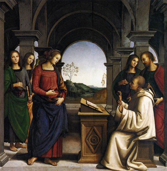 "Pietro Perugino [Public domain], <a href=""https://commons.wikimedia.org/wiki/File:Perugino,_apparizione_della_vergine_a_san_bernardo,_monaco.jpg""  target=""_blank"">via Wikimedia Commons</a>"