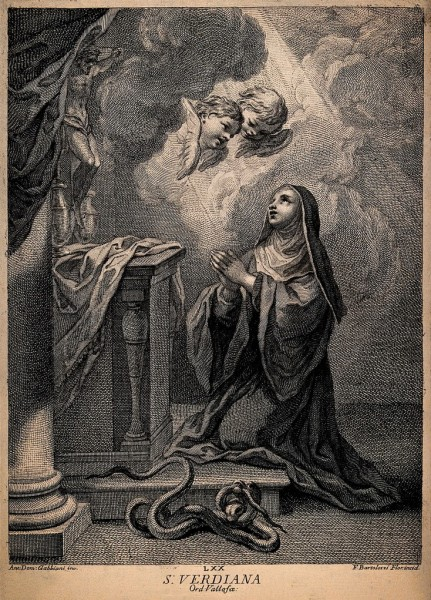 """Saint Verdiana was noted from an early age for her generosity and sense of charity. She made a pilgrimage to Santiago de Compostela. Upon returning to Castelfiorentino and feeling a desire for solitude and penance, she had herself walled up as an anchorite in a little cell contiguous to the oratory of San Antonio. She remained secluded there for 34 years.  <a href=""""https://commons.wikimedia.org/wiki/File:Saint1_Verdiana._Engraving_by_F._Bartolozzi_after_A.D._Gabbi_Wellcome_V0033126.jpg"""" title=""""via Wikimedia Commons"""">See page for author</a> [<a href=""""https://creativecommons.org/licenses/by/4.0"""">CC BY</a>]"""