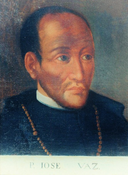 "Saint Joseph Vaz,CO,  was an Oratorian priest and missionary in Sri Lanka, then known as Ceylon. Vaz arrived in Ceylon during the Dutch occupation, when the Dutch were imposing Calvinism as the official religion after taking over from the Portuguese. He travelled throughout the island bringing the Eucharist and the sacraments to clandestine groups of Catholics. Later in his mission, he found shelter in the Kingdom of Kandy where he was able to work freely. By the time of his death, Vaz had managed to rebuild the Catholic Church on the island.  <a href=""https://commons.wikimedia.org/wiki/File:Padre_Jos%C3%A9_Vaz_(BNP_Inv._14496).jpg"" title=""via Wikimedia Commons"" target=""_blank"">Portuguese painter</a> [Public domain]"