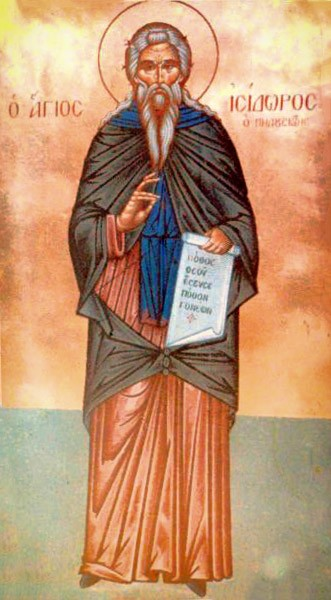 """Saint Isidore of Pelusium was born in Egypt to a prominent Alexandrian family. He became an ascetic, and moved to a mountain near the city of Pelusium, in the tradition of the Desert Fathers. Following the example of St John Chrysostom, whom he had managed to see and hear during a trip to Constantinople, St Isidore devoted himself primarily to Christian preaching. Yet he writes in one letter, """"It is more important to be proficient in good works than in golden-tongued preaching""""  <a href=""""https://commons.wikimedia.org/wiki/File:Isidore_of_Pelusium.jpg"""" title=""""via Wikimedia Commons"""" target=""""_blank"""">http://www.svetigora.com/node/937</a> [Public domain]"""