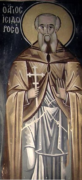"""Saint Isidore of Pelusium was born in Egypt to a prominent Alexandrian family. He became an ascetic, and moved to a mountain near the city of Pelusium, in the tradition of the Desert Fathers. Following the example of St John Chrysostom, whom he had managed to see and hear during a trip to Constantinople, St Isidore devoted himself primarily to Christian preaching. Yet he writes in one letter, """"It is more important to be proficient in good works than in golden-tongued preaching""""  <a href=""""https://commons.wikimedia.org/wiki/File:Isidore_of_Pelusium_(fresco).jpg"""" title=""""via Wikimedia Commons"""" target=""""_blank"""">anonimus</a> [Public domain]"""