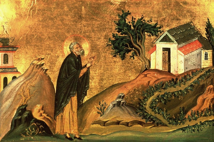 """Saint Isidore of Pelusium was born in Egypt to a prominent Alexandrian family. He became an ascetic, and moved to a mountain near the city of Pelusium, in the tradition of the Desert Fathers. Following the example of St John Chrysostom, whom he had managed to see and hear during a trip to Constantinople, St Isidore devoted himself primarily to Christian preaching. Yet he writes in one letter, """"It is more important to be proficient in good works than in golden-tongued preaching""""   <a href=""""https://commons.wikimedia.org/wiki/File:Isidore_of_Pelusium_(Menologion_of_Basil_II).jpg"""" title=""""via Wikimedia Commons"""" target=""""_blank"""">Anonymous Unknown author</a> [Public domain]"""
