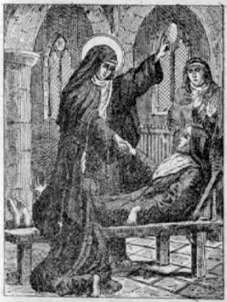 """Saint Colette of Corbie was a French abbess and the foundress of the Colettine Poor Clares, a reform branch of the Order of Saint Clare, better known as the Poor Clares.    <a href=""""https://commons.wikimedia.org/wiki/File:Perrot_-_Bue_ar_Zent_pajenn191.jpg"""" title=""""via Wikimedia Commons"""" target=""""_blank"""">Ar Gwennek</a> [Public domain]"""