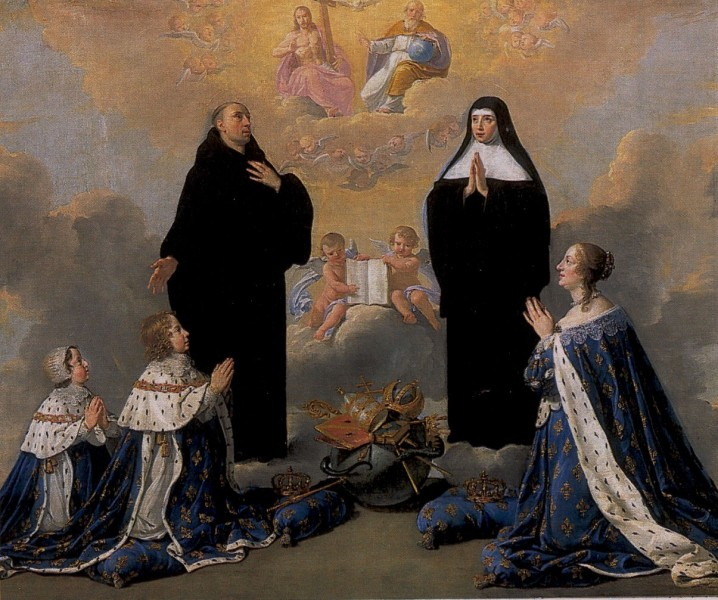 """Anne of Austria with her children (King Louis XIV and Philippe, Duke of Anjou) praying to the Holy trinity with St Benedict and his sister St Scholastica   <a href=""""https://commons.wikimedia.org/wiki/File:Anne_of_Austria_with_her_children_(King_Louis_XIV_and_Philippe,_Duke_of_Anjou)_praying_to_the_Holy_trinity_(Philippe_de_Champaigne).jpg"""" title=""""via Wikimedia Commons"""" target=""""_blank"""">Philippe de Champaigne</a> / Public domain"""