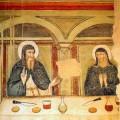 Saint-Benedict-and-Saint-Scholastica-eating_14century