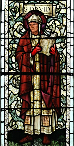 """Saint David is the patron saint of Wales. He was a Welsh bishop of Mynyw (now St.Davids) during the 6th century. He was a native of Wales, and a relatively large amount of information is known about his life.     <a href=""""https://commons.wikimedia.org/wiki/File:Sant_Silyn,_Wrecsam_Parish_Church_of_St._Giles,_Wrexham,_Wales_04.jpg"""" title=""""via Wikimedia Commons"""" target=""""_blank"""">Llywelyn2000</a> / <a href=""""https://creativecommons.org/licenses/by-sa/4.0"""" target=""""_blank"""">CC BY-SA</a>"""