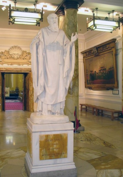 Saint David is the patron saint of Wales. He was a Welsh bishop of Mynyw (now St.Davids) during the 6th century. He was a native of Wales, and a relatively large amount of information is known about his life.   Colin Smith&nbsp;/&nbsp;<i>St David, Cardiff City Hall</i>