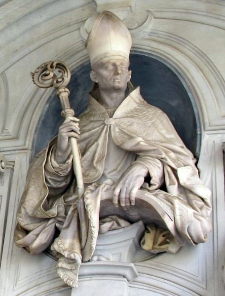 """Saint Hugh of Châteauneuf (Hugh of Grenoble) was the Bishop of Grenoble (Lyon, France) from 1080 to his death in 1132. He was also instrumental in the foundation of the Carthusian Order. HSaint Hugh received Saint Bruno of Cologne, and six of his companions in 1084, after seeing them under a banner of seven stars in a dream. Hugh installed the seven monks in a snowy and rocky Alpine location called Chartreuse.    <a href=""""https://commons.wikimedia.org/wiki/File:Cosimo_fanzago_e_domenico_antonio_vaccaro,_busti_nel_chiostro_grande,_01,_2.jpg"""" title=""""via Wikimedia Commons"""" target=""""_blank"""">Cosimo Fanzago</a> / <a href=""""https://creativecommons.org/licenses/by-sa/3.0"""" target=""""_blank"""">CC BY-SA</a>"""