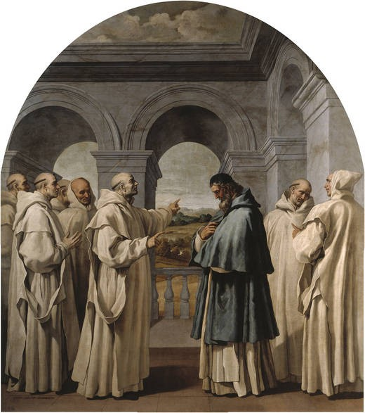 """Saint Hugh of Châteauneuf (Hugh of Grenoble) was the Bishop of Grenoble (Lyon, France) from 1080 to his death in 1132. He was also instrumental in the foundation of the Carthusian Order. HSaint Hugh received Saint Bruno of Cologne, and six of his companions in 1084, after seeing them under a banner of seven stars in a dream. Hugh installed the seven monks in a snowy and rocky Alpine location called Chartreuse.    <a href=""""https://commons.wikimedia.org/wiki/File:Carducho._Pinturas_del_claustro_de_El_Paular_11.jpg"""" title=""""via Wikimedia Commons"""" target=""""_blank"""">Vincenzo Carducci</a> / Public domain"""