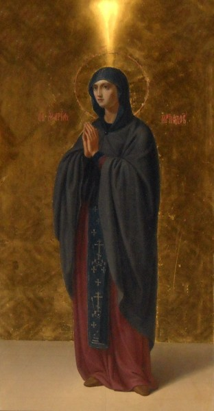 """Saint Maria Aegyptiaca was born somewhere in the Province of Egypt, and at the age of twelve she ran away from her parents to the city of Alexandria. Here she lived an extremely dissolute life. In her Vita it states that she often refused the money offered for her sexual favors, as she was driven """"by an insatiable and an irrepressible passion,"""" and that she mainly lived by begging, supplemented by spinning flax.  After seventeen years of this lifestyle, she traveled to Jerusalem for the Great Feasts of the Exaltation of the Holy Cross. She undertook the journey as a sort of """"anti-pilgrimage,"""" stating that she hoped to find in the pilgrim crowds at Jerusalem even more partners in her lust. She paid for her passage by offering sexual favors to other pilgrims, and she continued her habitual lifestyle for a short time in Jerusalem. Her Vita relates that when she tried to enter the Church of the Holy Sepulchre for the celebration, she was barred from doing so by an unseen force. Realizing that this was because of her impurity, she was struck with remorse, and upon seeing an icon of the The Virgin Mary outside the church, she prayed for forgiveness and promised to give up the world and become an ascetic. Then she attempted again to enter the church, and this time was permitted in.    <a href=""""https://commons.wikimedia.org/wiki/File:Maria_Egipcjanka_w_cerkwi_w_Piotrkowie.JPG"""" title=""""via Wikimedia Commons"""" target=""""_blank"""">Loraine</a> / <a href=""""https://creativecommons.org/licenses/by-sa/3.0"""" target=""""_blank"""">CC BY-SA</a>"""