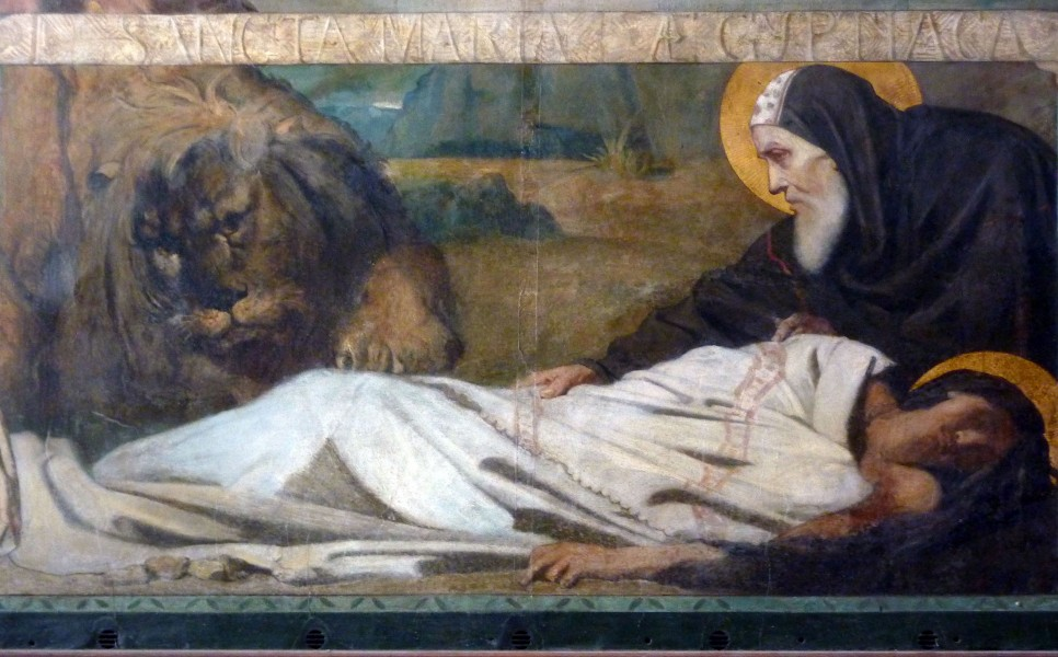 """Catholic parish church of Saint-Merry in Paris, fresco by Théodore Chassériau (1819-1856) in the third chapel in the north aisle of the choir, depiction: St. Mary the Egyptian Zosimas buried, a lion digs her grave   <a href=""""https://commons.wikimedia.org/wiki/File:Paris-Saint-Merry_Fresko_99.JPG"""" title=""""via Wikimedia Commons"""" target=""""_blank"""">GFreihalter</a> / <a href=""""https://creativecommons.org/licenses/by-sa/3.0"""" target=""""_blank"""">CC BY-SA</a>"""
