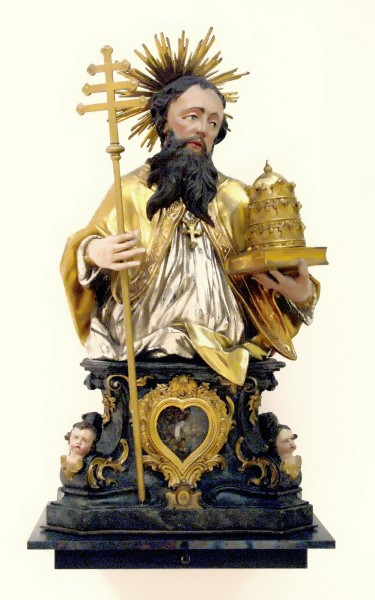 Saint Linus - Reliquary bust by Matthias Faller, 1782. Augustinian Museum in Freiburg Germany.