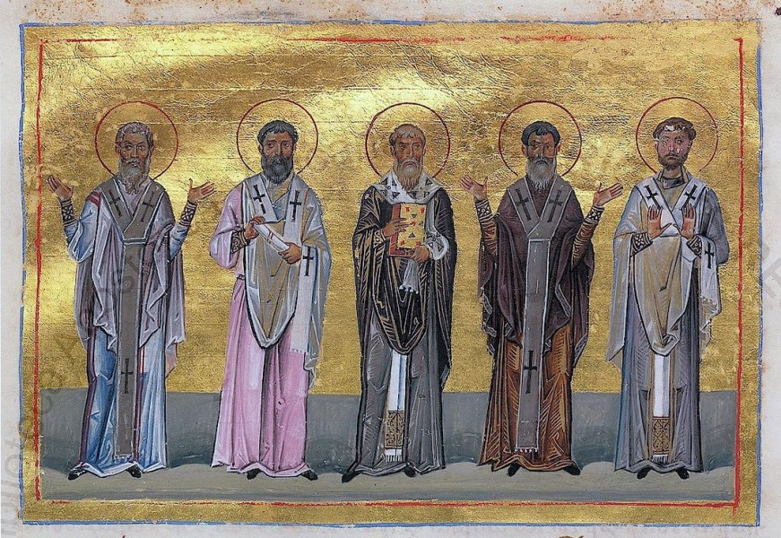 "Patrobulus, Hermas, Linus, Caius, Philologus of 70 disciples (Menologion of Basil II)  <a href=""https://commons.wikimedia.org/wiki/File:Patrobulus,_Hermas,_Linus,_Caius,_Philologus_of_70_disciples_(Menologion_of_Basil_II).jpg"" title=""via Wikimedia Commons"" target=""_blank"">AnonymousUnknown author</a> / Public domain"