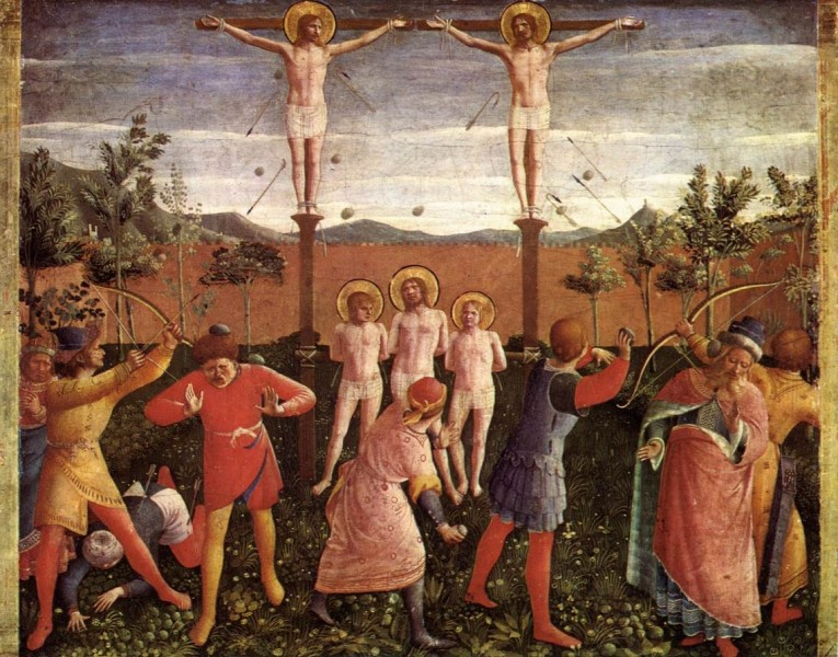 """Saint Cosmas and Saint Damian Crucifixed and Stoned - by Fra Angelico  <a href=""""https://commons.wikimedia.org/wiki/File:Fra_Angelico_-_Saint_Cosmas_and_Saint_Damian_Crucifixed_and_Stoned_-_WGA0516.jpg"""" title=""""via Wikimedia Commons"""" target=""""_blank"""">Fra Angelico</a> / Public domain"""