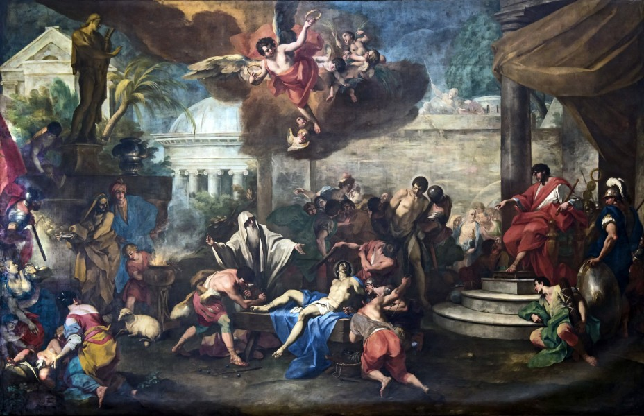 """Martyrdom of Saints Cosmas and Damian by Antonio Balestra, Santa Giustina (Padua) - Chapel of Saint Luke  <a href=""""https://commons.wikimedia.org/wiki/File:Santa_Giustina_(Padua)_-_Chapel_of_Saint_Luke_-_Martyrdom_of_Saints_Cosmas_and_Damian_by_Antonio_Balestra.jpg"""" title=""""via Wikimedia Commons"""" target=""""_blank"""">Antonio Balestra</a> / Public domain  <br /> <h1 style=""""color:red""""><b>WARNING!</b></h1> <p style=""""color:red"""">This file is copyrighted and has been released under a license which is incompatible with Facebook's licensing terms.  <b>It is not permitted to upload this file at Facebook.</b></p>"""