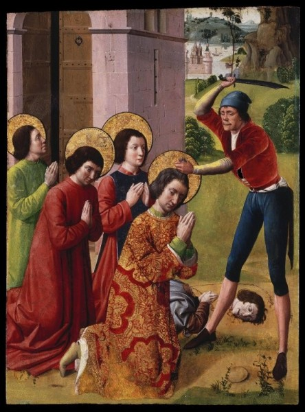 """Martyrdom of Saints Cosmas and Damian with their Three Brothers part of an altarpiece - Brooklyn Museum  <a href=""""https://commons.wikimedia.org/wiki/File:Brooklyn_Museum_-_Martyrdom_of_Saints_Cosmas_and_Damian_with_their_Three_Brothers_part_of_an_altarpiece_-_French.jpg"""" title=""""via Wikimedia Commons"""" target=""""_blank"""">Brooklyn Museum</a> / Public domain"""