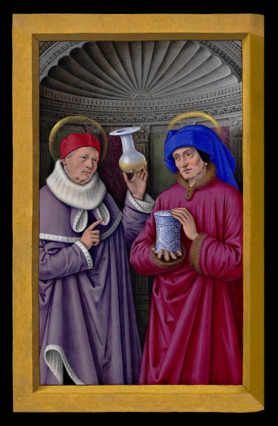 """Saints Cosmas and Damian, miniature from the Grandes Heures of Anne of Brittany.  <a href=""""https://commons.wikimedia.org/wiki/File:Saint_C%C3%B4me_%26_Saint_Damien_Grandes_Heures_Anne_de_Bretagne_XVIe.jpg"""" title=""""via Wikimedia Commons"""" target=""""_blank"""">Jean Bourdichon</a> / Public domain"""
