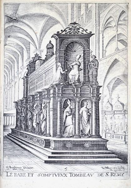 "Saint Remigius' Tomb - engraving by Edmé Moreau after a drawing by Beaussonnet, 1635  <a href=""https://commons.wikimedia.org/wiki/File:Histoire_de_Reims_par_Bergier_29541_Remi_tombeau.jpg"" title=""via Wikimedia Commons"" target=""_blank"">Template:CreatorːNicolas Bergier versement et modifications ː G.Garitan</a> / Public domain"