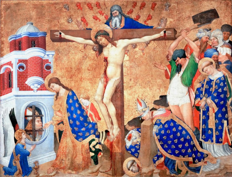 """The Last Communion and Martyrdom of Saint Denis - Altarpiece of St Denis in Paris, by Henri Bellechose, 1416  <a href=""""https://commons.wikimedia.org/wiki/File:Henri_Bellechose_001.jpg"""" target=""""_blank"""">Henri Bellechose</a>, Public domain, via Wikimedia Commons"""