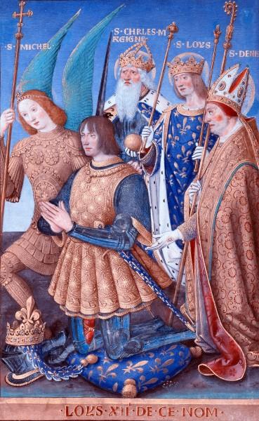 "Louis XII of France Kneeling in Prayer - by Jean Bourdichon, 1498 - 1499  <a href=""https://commons.wikimedia.org/wiki/File:Jean_Bourdichon_(French_-_Louis_XII_of_France_Kneeling_in_Prayer_-_Google_Art_Project.jpg"" target=""_blank"">Getty Center</a>, Public domain, via Wikimedia Commons"