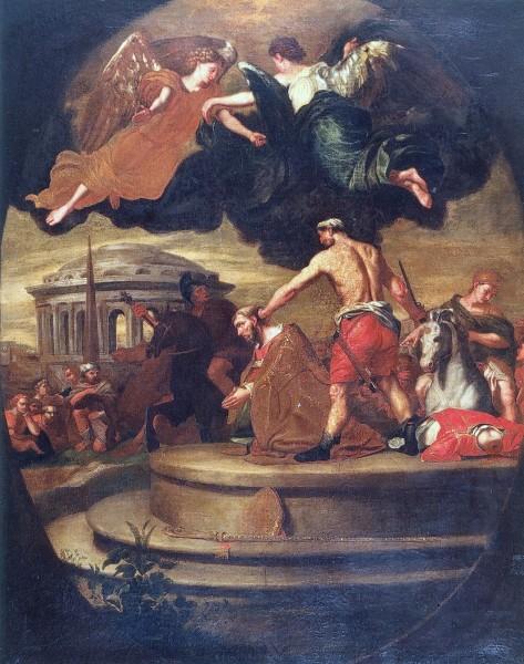 "Martyrdom of Saint Denis of Paris - Jean-Guillaume Carlier (copy of a painting in Brussels)  <a href=""https://commons.wikimedia.org/wiki/File:Jean-Guillaume_Carlier_,_Martelaarschap_van_Sint-Dionysius_(kopie_van_schilderij_in_KMKG,_Brussel),_Grand_curtius,_Luik.jpg"" target=""_blank"">Jean-Guillaume Carlier</a>, Public domain, via Wikimedia Commons"